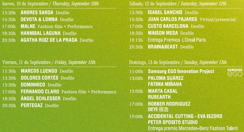 Mercedes-Benz Fashion Week Madrid, MBFWM, MBFWMadrid, Samsung EGO, calendario